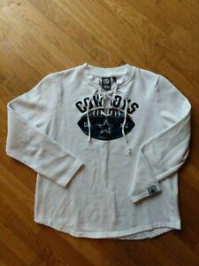 NFL Team Apparel Dallas Cowboys Tie Up Sweater Womens Sz Medium White Blue Velve