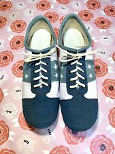 Vintage Brunswick Womens Blue/White Suede Bowling Shoes Star Cutouts 8 1/2 M