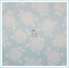 BonEful Fabric FQ Cotton Quilt Blue White VTG Large Flower Xmas Snowflake Toile