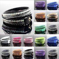Punk Rhinestone Multilayer Wristband Crystal Leather Wrap Cuff Bracelet Bangle