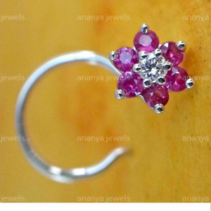 PINK Sapphire & Real Diamond Flower 14k Gold Over Nose Piercing Pin Stud