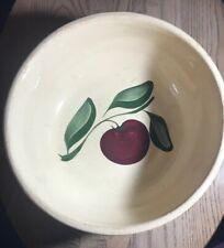 """Vintage Watt Apple 3 Leaf Pottery Bowl 91/2"""""""