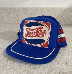 Vintage Pepsi Cola 3 Stripe Trucker Mesh Snapback Hat Nice Condition *** EUC