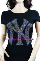 New York NY Yankees Jersey Bling Rhinestone T-shirt