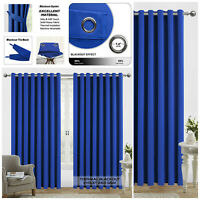 Thermal Insulated Blackout Eyelet Ring Top Ready Made Bedroom Curtains Pair