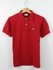 E41 Vtg Lacoste Polo Men Red Short Sleeve Cotton Shirt 3 S