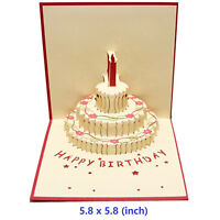 Birthday Gift 3D Greeting Card Pop Up Happy Birthday Thank You Card-[Red]