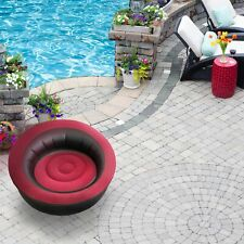 ALEKO Inflatable Round Outdoor Lounge Seat Chair - Red and Black