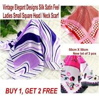 Lot 3 Pcs New Fashion Elegant Silk Satin Womens Small Square Head Neck Scarf 176