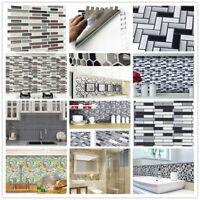 4Pcs/Set 3D Wall Stickers Brick/Mosaic Tile Contact Paper Kitchen Bathroom Decor