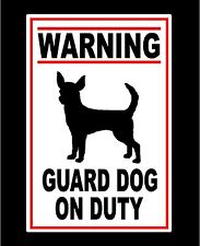 Metal Guard Dog On Duty Sign Chihuahua Warning Security Signs New