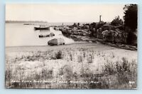 Manistique, MI - EARLY VIEW OF SEUL CHIOX POINT HARBOR & BOAT - RPPC - Y5