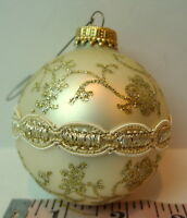"Pearl White Ball Ornament 3"" tall Glitter Floral Vintage Christmas"