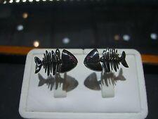 FINE FISH SKELETON CUFF LINKS RUBY FLEXIBLE 18 KARAT WHITE GOLD BLACK RHODIUM!!