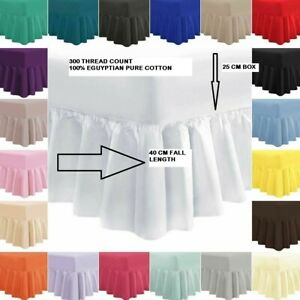 300 THREAD COUNT 100% PURE COTTON EXTRA DEEP FRILLED FITTED VALANCE SHEET