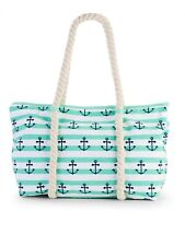 No Boundaries Beach Tote Rope Tote Green With Anchors New