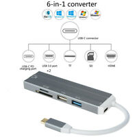 1x4/5/6Port USB3.0 Type-C HUB Adapter 4K HDMI Port SD/TF Card Reader For MacBook