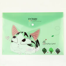 2x Cute Cheese Cat PVC A4 File Folder Document Filing Bag Stationery Bag