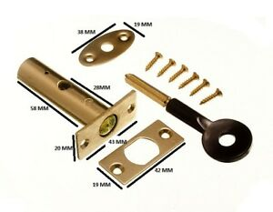 Door Security Rack Bolt And Star Key 60mm EB Brass Plated + Fixings