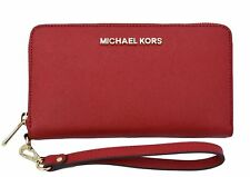 NEW Michael Kors Saffiano Large Coin Multifunction Wallet Wristlet True Red $140