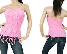 """NEW! KAELYN-MAX Sexy PINK Bohemian CLUBWEAR Top w/ Fringe ~ Small / Bust to 32"""""""