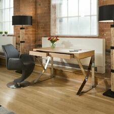 Modern Designer Desk / Dresser Natural Oak Veneer and Stainless Steel