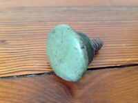Antique Primitive Green Teal Painted Domed Round Wood Knob Cabinet Drawer Pull