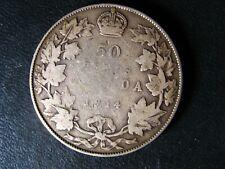 50 cents 1914 Canada King George V silver coin c ¢ half dollar G-6