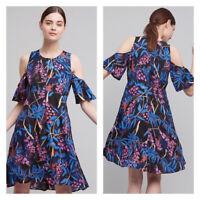 Maeve Anthropologie Elia Floral Open Cold Shoulder Dress Size 2P Black Blue Pink