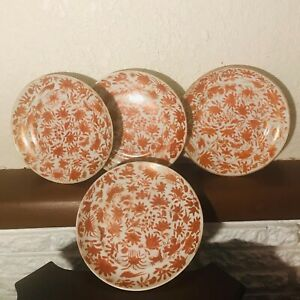 Antique Chinese Export Porcelain Plate Orange Sacred Bird & Butterfly 19th c.