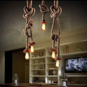 Vintage Hemp Rope Retro Style Pendant Light Hanging ES Lamp in various Colour UK
