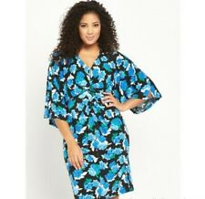 Floral Midi Dress Size 16 Batwing Knot Front So Fabulous BNWT Stretch Blue
