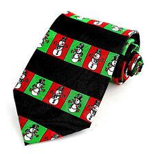 Snowmen Stripes Mens Neck Tie Snowman Christmas Necktie Xmas Holiday Black New