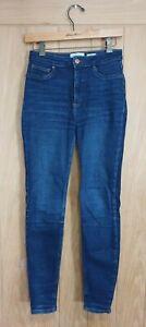 New Look Hallie Disco size 10 blue stretch denim high rise skinny jeans W27 L29