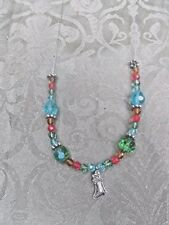 Christmas Handcrafted Necklace with Stocking Pendant and Dangle Earrings Set