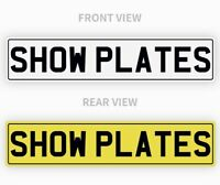 Pair White & Yellow Show Custom Plates WITH BLACK BORDER, NOT Road Legal
