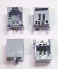 RJ11 Phone Jack socket PCB - Grey x 4 (2 pairs) 4-Pin - Base Mount- UK Seller