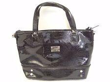 Used Las Jm New York Black Vinyl Womens Handbag Purse