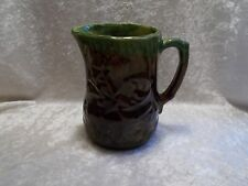 Vintage Brown & Green Glazed Stoneware Pottery Pitcher w/Raised Design