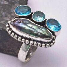 Biwa Pearl Blue Topaz Ethnic Handmade Ring Jewelry US Size-8.5 AR 31012