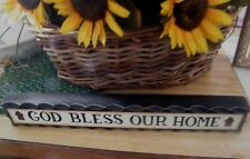 """GOD BLESS OUR HOME religious country wood shelf sitter message block sign 12"""""""