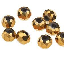 25 TSCHECHISCHE KRISTALL PERLEN GLASPERLEN RONDELLE 4mm Fire-Polished Gold X46