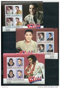 St.Vincent 3 Souvenir Sheets  MNH Elvis Presley Leaders of the World