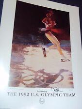 "HAND SIGNED Bart Forbes  art poster   "" Figure Skater ""  1992 US Olympic Team"
