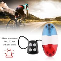 Bike Bicycle Cycling 4 Sounds LED Police Car Siren Electric Light Horn Bell Ym