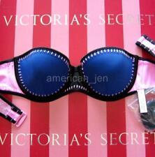 36B VICTORIA'S SECRET Swim Surf Flirt Bandeau Push-Up Bikini Crochet Stitch 8BN
