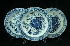 3 plates Mintons, FAISAN decor, blue-white transferware (1880)