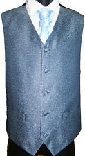 Mens Blue scroll Waistcoat for Wedding /Occasion