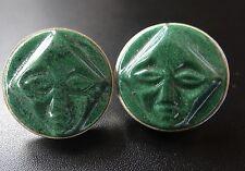 vintage 925 STERLING SILVER jade green hard stone mask mens cufflinks D263