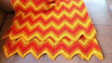 "VTG Handmade Afghan Blanket Chevron Yellow And Orange Throw Decor 66""×64"""